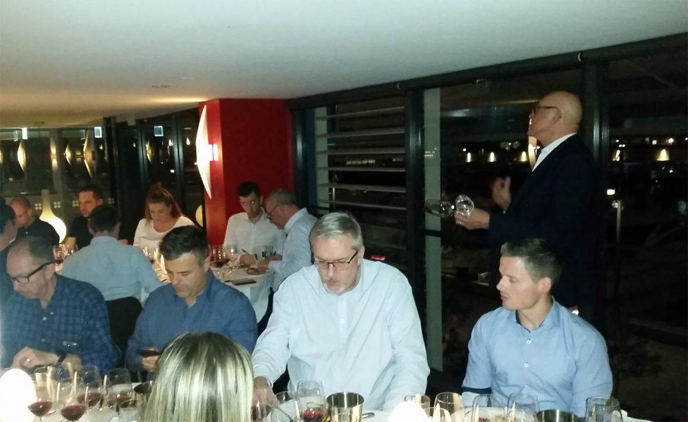 Peter Bourne hosting a wine storage night at Otto Ristorante