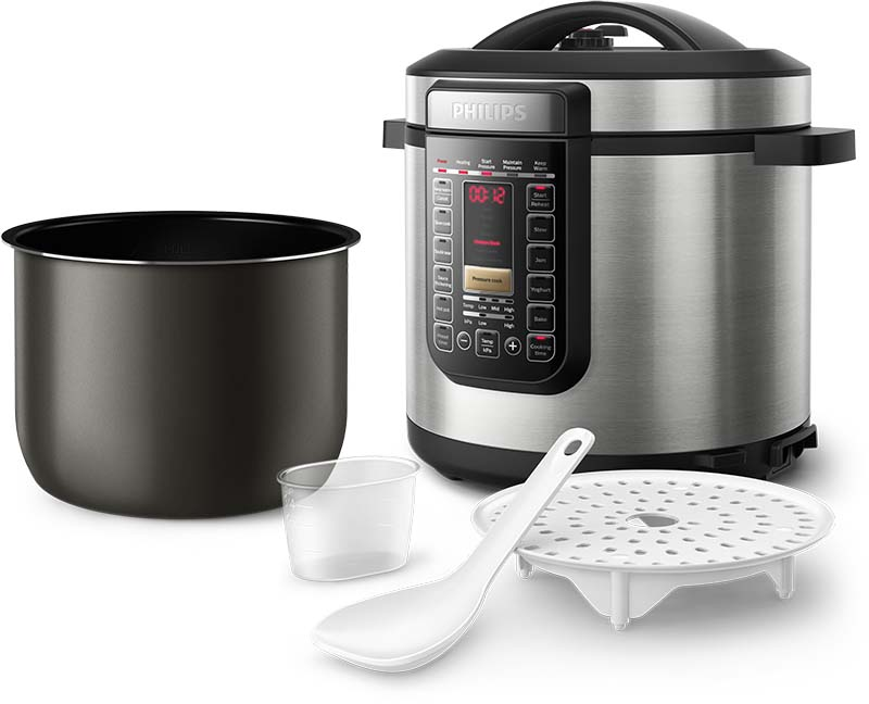 The Philips All In One Cooker and included accessories.