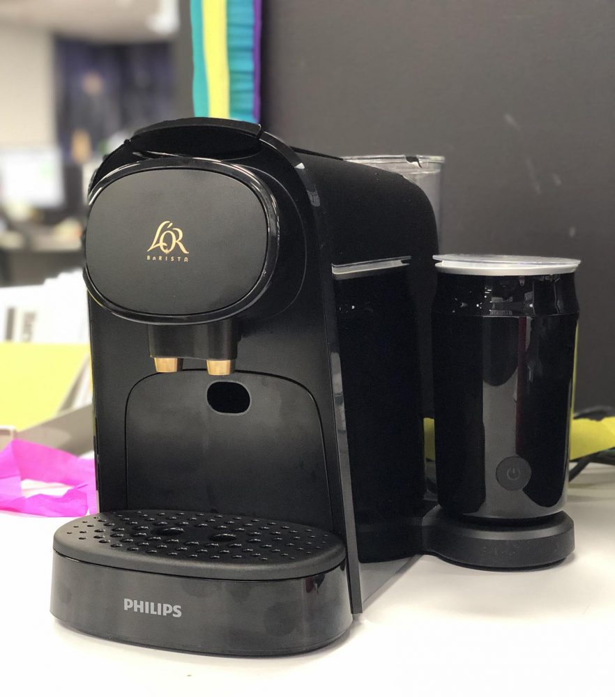 Front on shot of the Philips L'Or Barista coffee machine.