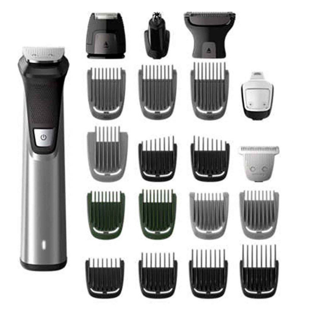 Philips Multigroom 18-in-1 Head to Toe Trimmer and attachments.