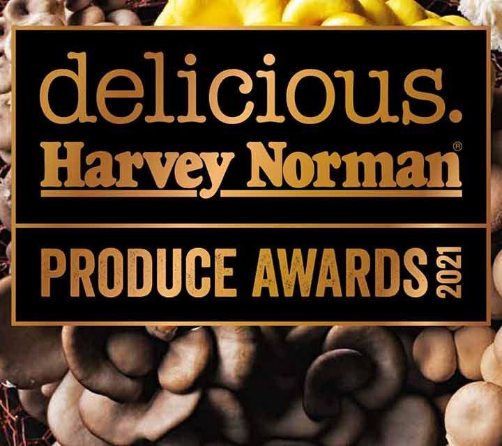 Logo for the delicious. Harvey Norman Produce Awards 2021.