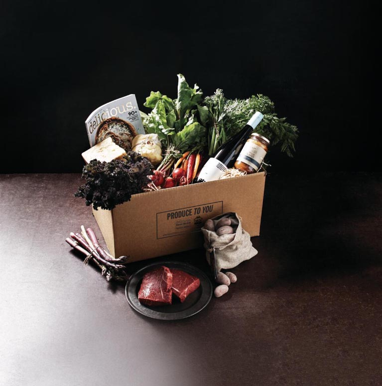 The Produce To You box, featuring a range of produce, created by delicious. magazine and Vic's Premium Quality Meat.