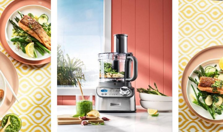 Kenwood Multipro Express Weigh+ Food Processor and plated Crispy-skinned Salmon.