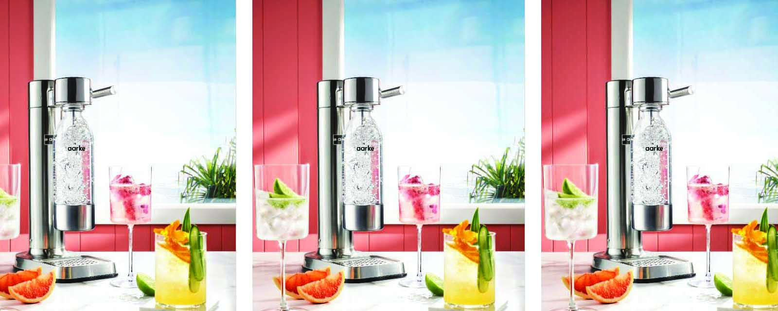 Various Pomegranate Spritzer drinks made with the Aarke Carbonator.