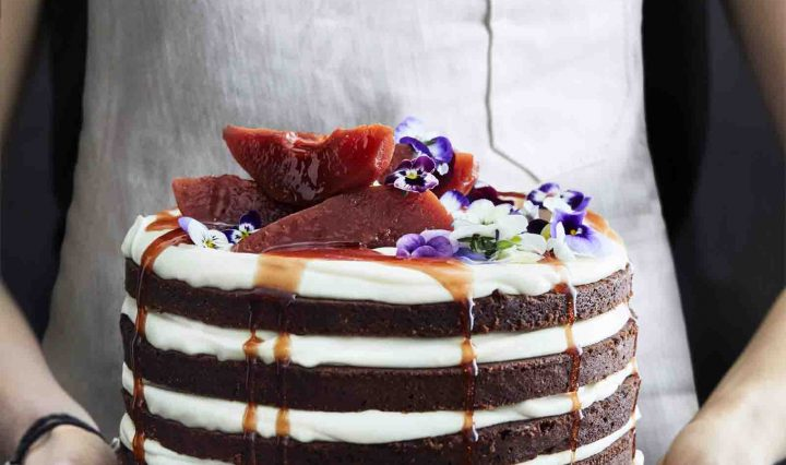 Rich Chocolate Yoghurt Cake with White Chocolate Ganache and Poached Quince