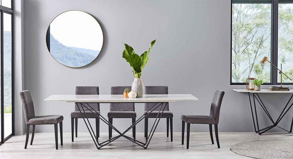 The Shabayer 9-Piece Marble Dining Suite.
