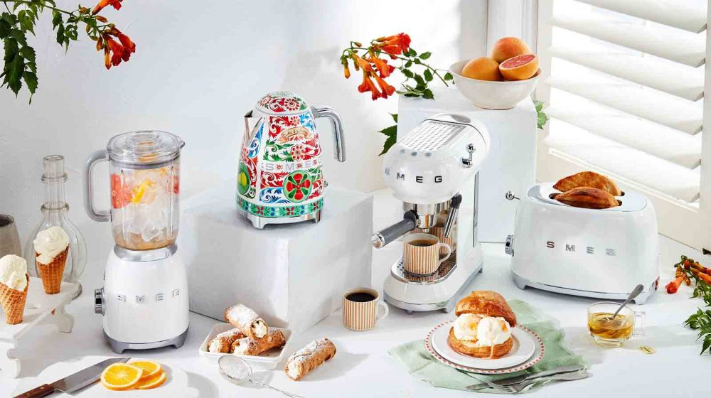 A range of small appliances available in the Smeg Dolce & Gabbana collection.