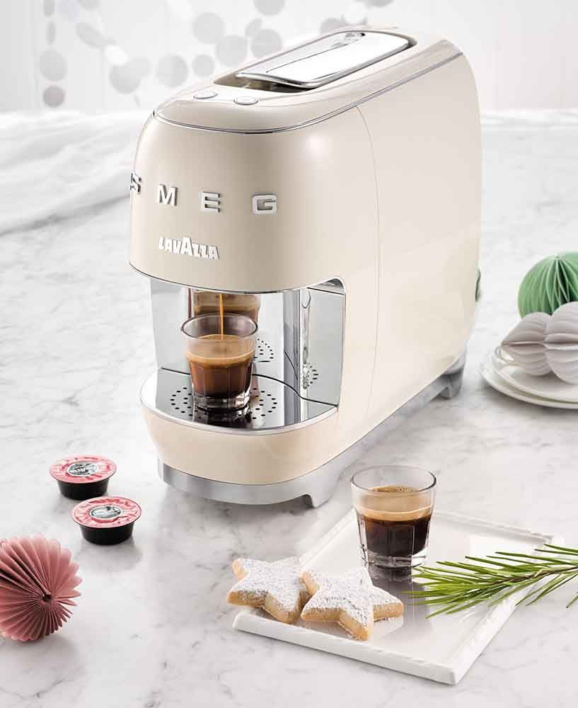 Making coffee with the Smeg Lavazza Coffee Capsule Machine.