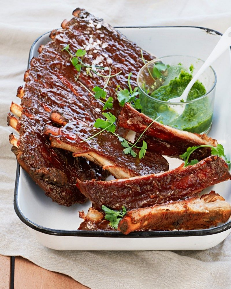 Smoked Honey BBQ Pork Ribs with Jalapenos and Coriander BBQ recipe