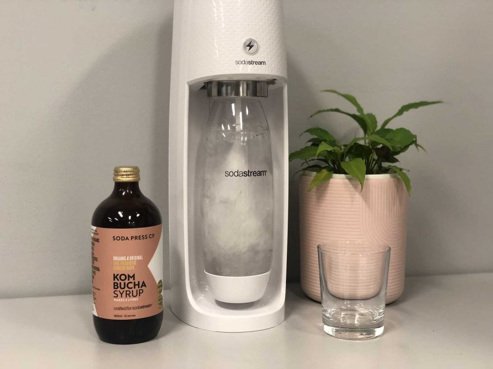 Soda Press Co Kombucha and SodaStream Spirit One Touch Sparkling Water Maker.