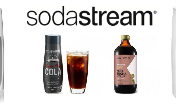 Two images of the SodaStream Spirit One Touch Sparkling Water Make, along with an image of SodaStream's sugar-free cola flavour and Soda Press Co's Kombucha flavour.