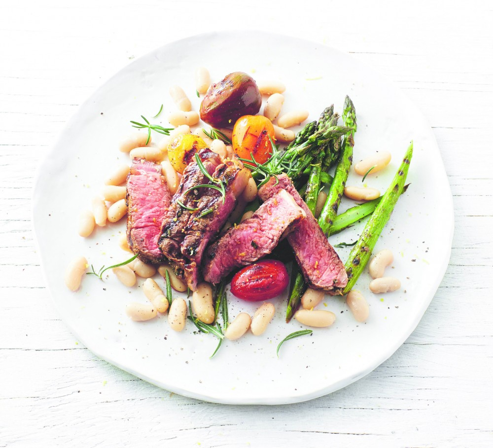 Sous-vide-steak-with-warm-garlic-beans