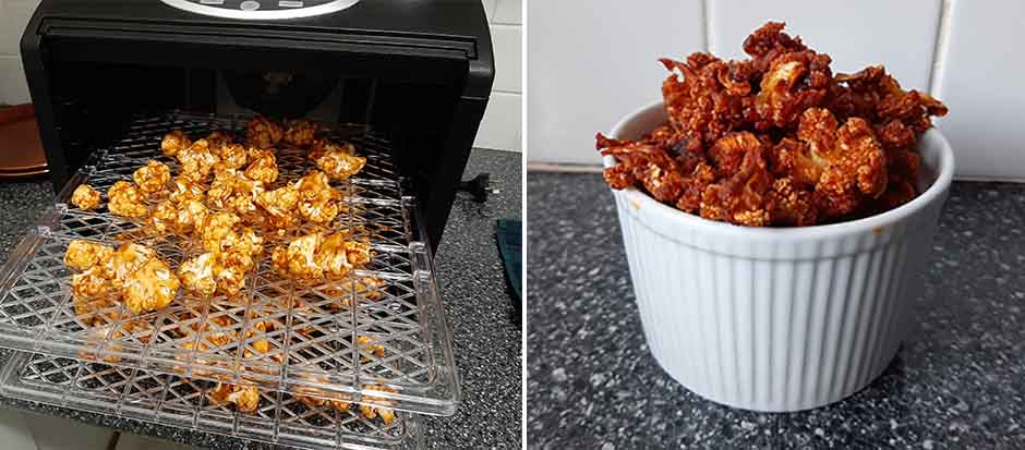 Spicy Cauliflower Popcorn pictured in the Sunbeam Food Lab Dehydrator and in a bowl.