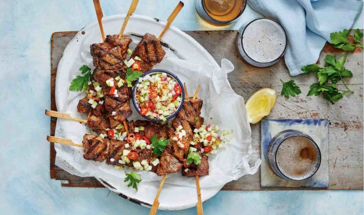 Recipe for Spicy Soy Lamb Skewers with Nashi Pear Salsa.