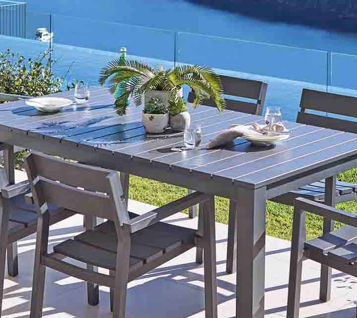 A close up shot of the Quay Outdoor Dining Setting.