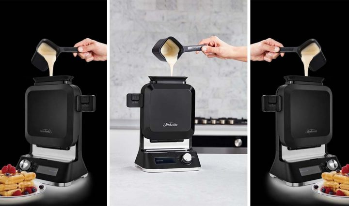 A collage of the Sunbeam Shade Select Vertical Waffle Maker.
