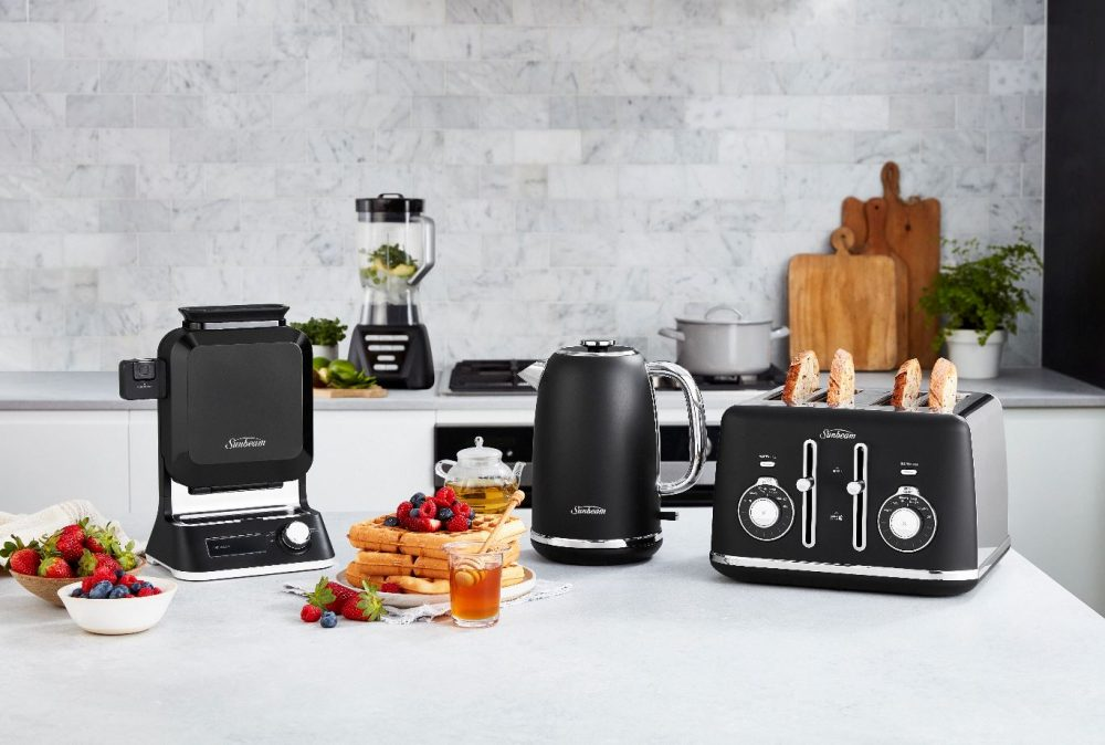The Sunbeam Waffle Maker pictured with Sunbeam Toaster, Kettle and waffles!