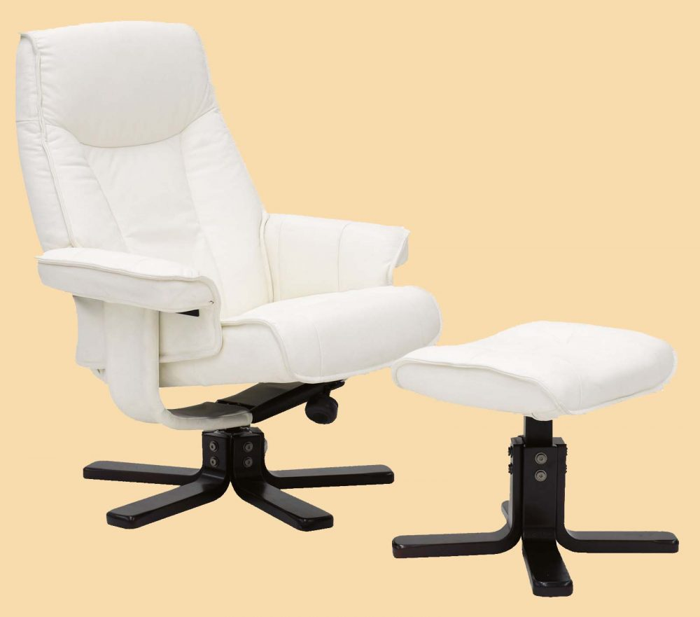 Taby Leather Recliner and Footstool in white