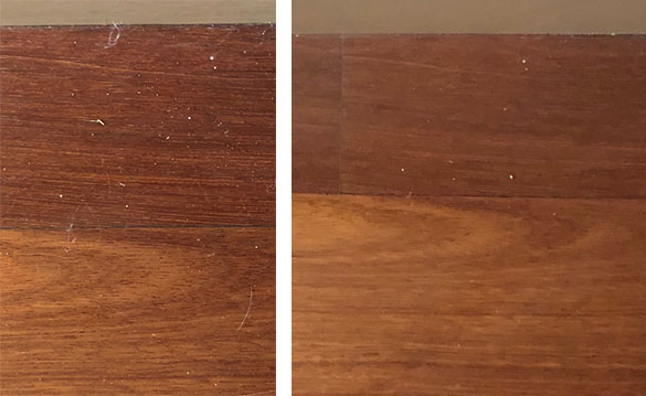 Timber floors before and after cleaning them with the Karcher FC7 Hard Floor Cleaner.