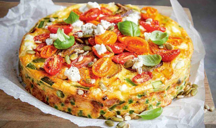 Tomato, Basil and Fetta Pie
