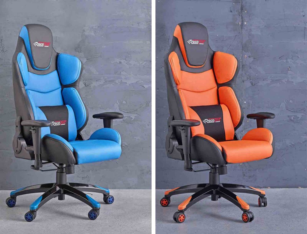 Torino Race Tec Gaming Chair pictured in both Blue+Black and Orange+Black designs..