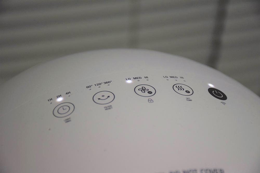 Touch controls on top of The Breville Air Rounder Plus Connect.