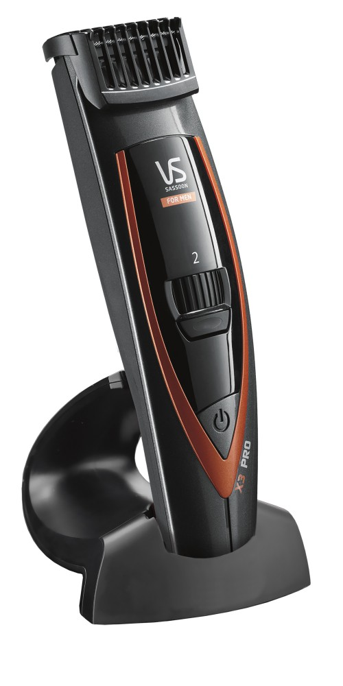 The VSforMen X3 PRO Beard and Stubble Trimmer comes with a charging stand.