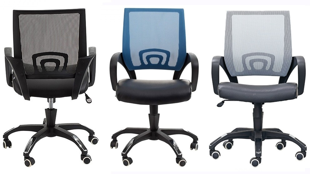 'Webster' Home Office Chairs, pictured in black, blue and grey.