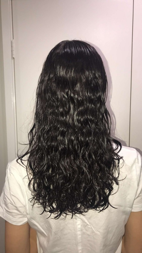 Hair before using diffuser