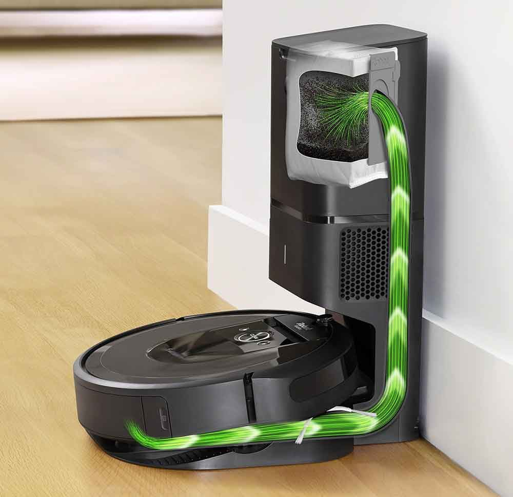 Graphic demonstrating the iRobot Roomba i7+ Robotic Vacuum's Automatic Dirt Disposal System.